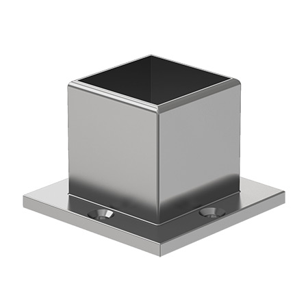 40x40 Square Strut 4 Holed Wall Flange (Long)